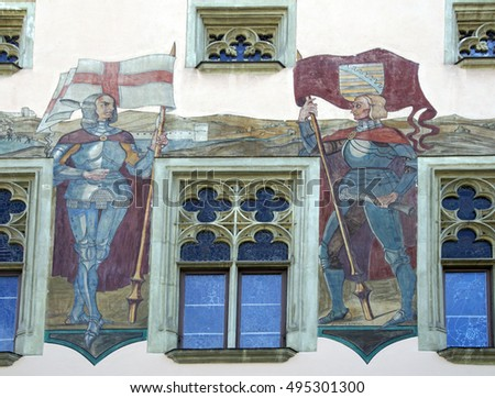 PASSAU, GERMANY - SEP 8, 2016 - Fresco of knight on Baroque town hall of  Passau, Germany