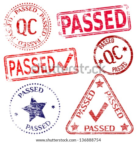 Passed quality control. Rubber stamp illustrations - stock photo