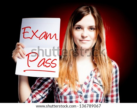 Passed test or exam and happy woman