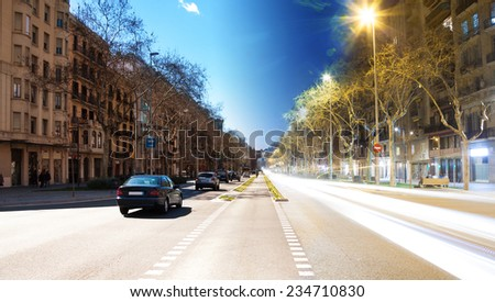 Passeig de Llu���­s Companys boulevard towards arc de Triomf, Barcelona, Spain day and night in one photo shoot - stock photo