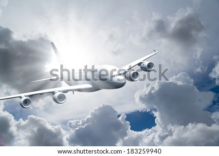 Passenger air plane flying in the sky, front view, cloudy background. - stock photo