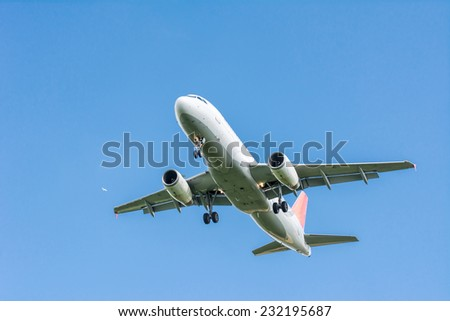 Passenger aircraft flying in the sky