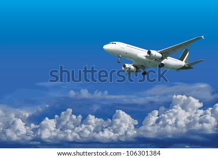 Passenger airliner is landing on the background of the cloudy sky - illustration - stock photo