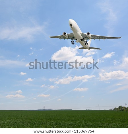 Passenger airplane departure in sky. Take off