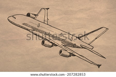 Passenger airplane drawing on old crumpled paper texture
