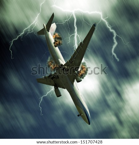 Passenger airplane falling from sky against stormy bolt cloudscape - stock photo