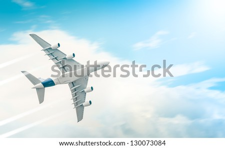 Passenger airplane flying high and leaving trail in blue cloudy sky on sunny day. View from below. Comfortable and fast travelling by air. Business and touristic trips. Aviation and aircraft. - stock photo