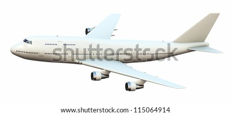 Passenger airplane, isolated on white background.