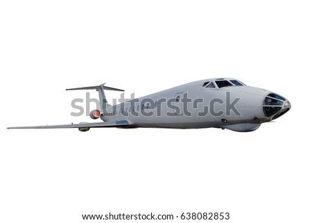 Passenger airplane. Plane isolated on white background.  passenger airplane in flight. nobody