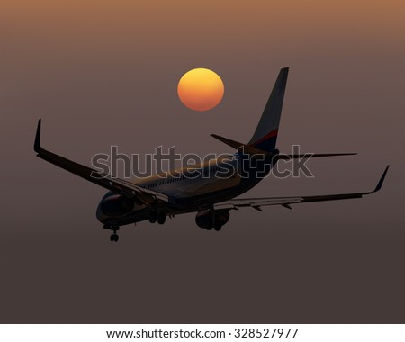 passenger airplane. travel by air transport