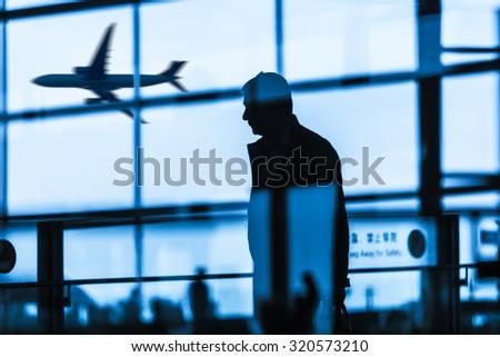 passenger at the airport - stock photo