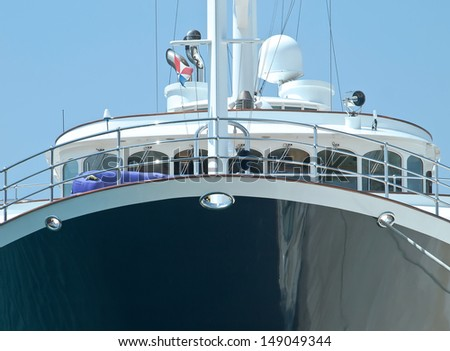 passenger boat - prow and main deck - stock photo