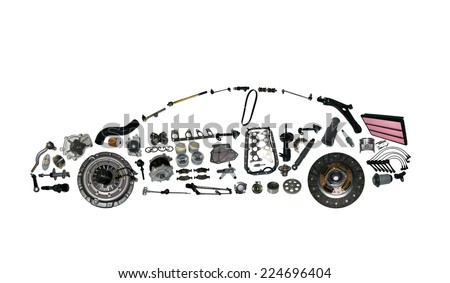 Passenger car assembled from new auto, spare parts. Spare parts for shop, aftermarket. Car with spare parts. New spare parts for shop. Many auto spare parts for car. Isolated auto spare parts. - stock photo