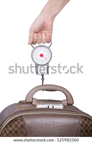 Passenger checking luggage weight with scale before flight isolated on white background