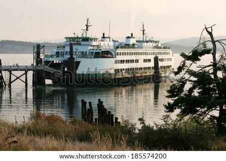 Passenger Ferry on Puget Sound in Washington State. - stock photo