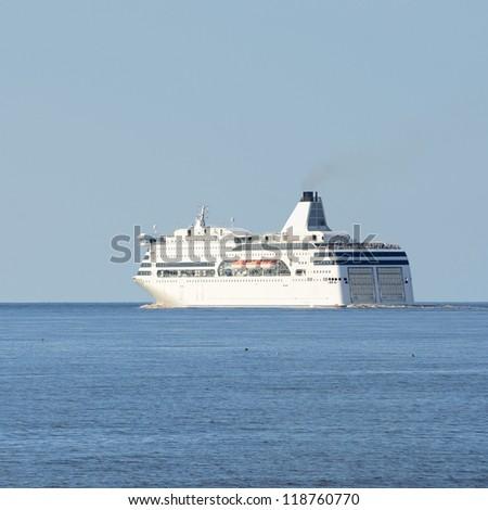 passenger ferry ship leaving port of Riga - stock photo