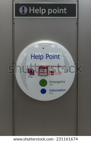 Passenger help point at a station for assistance or reporting an emergency - stock photo