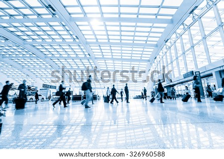 passenger in high speed rail station - stock photo