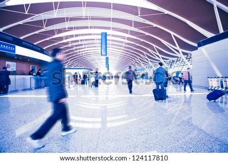 Passenger in the Shanghai airport - stock photo