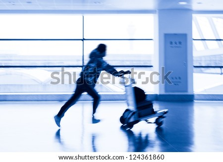 passenger in the shanghai airport - stock photo