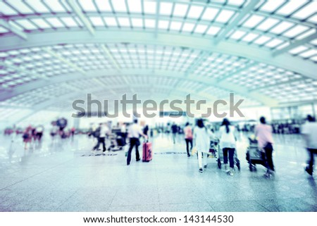 passenger in the shanghai pudong of the airport. - stock photo