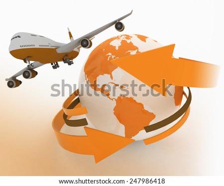 Passenger jet airplane travels around the world - stock photo