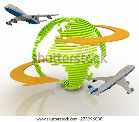 Passenger jet airplanes travels around the world - stock photo