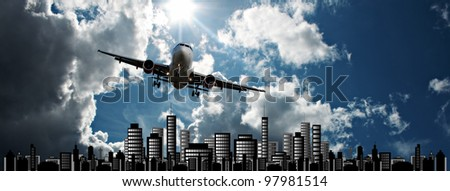 Passenger jet set against sunshine sky with cityscape illustration
