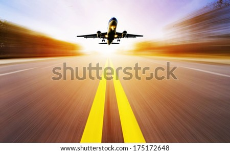 passenger plane fly up - stock photo