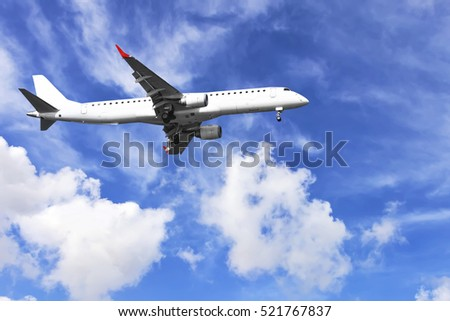 Passenger plane flying in the sky