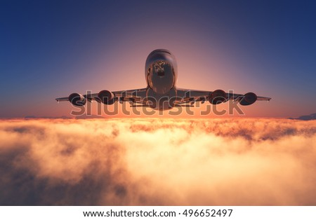 Passenger plane in the clouds at sunset.,3d render