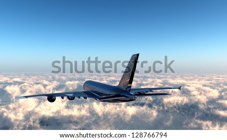 Passenger plane in the sky above the clouds. - stock photo