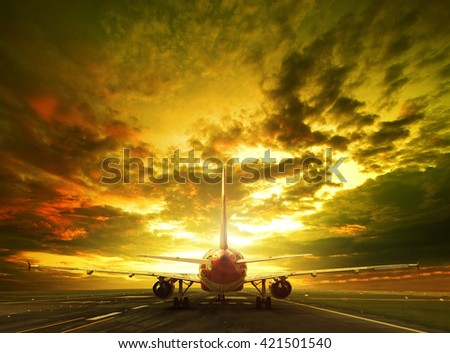 passenger plane ready to take off on airport runways use for traveling ,cargo ,air transport ,business  - stock photo