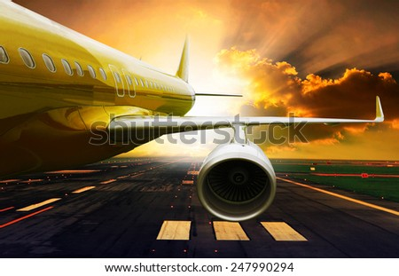 passenger plane take off from runways against beautiful dusky sky with copy space use for air transport ,journey and traveling industry business  - stock photo