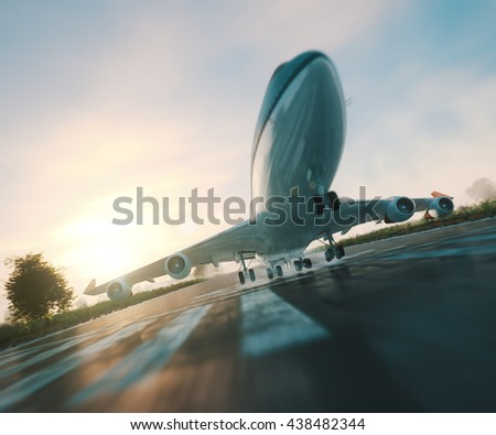 passenger plane take off from runways travel business background concept 3d illustration