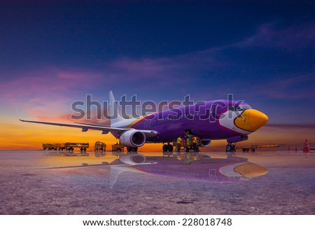Passenger planes at the airport - stock photo