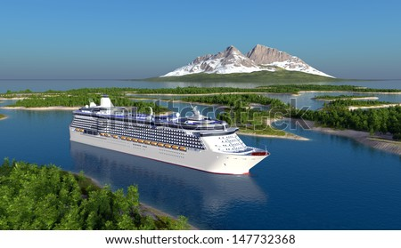 Passenger ship on the river. - stock photo