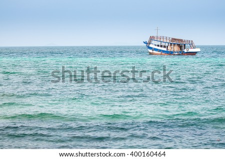 passenger ships on beautiful blue sea with copy space