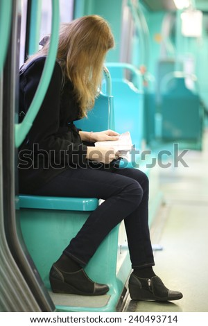 Passenger sitting in the bus  - stock photo