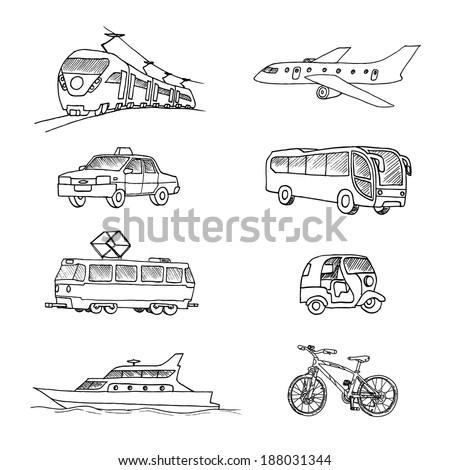 Passenger transport . Doodle set. - stock photo