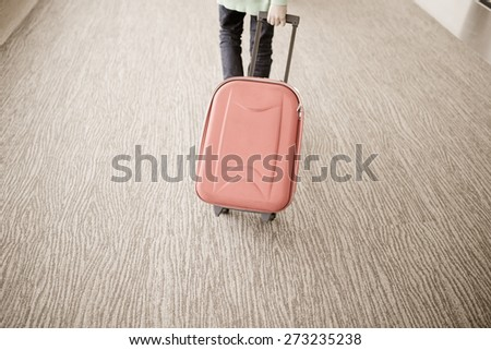 passenger walking in airport - stock photo
