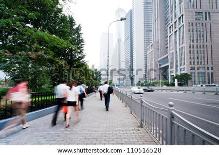 passenger walking on the walkway at shanghai china - stock photo