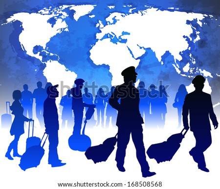 Passengers and airline pilots with luggage in airport. Raster version - stock photo
