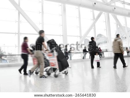 Passengers in guangzhou International Airport Airport - stock photo