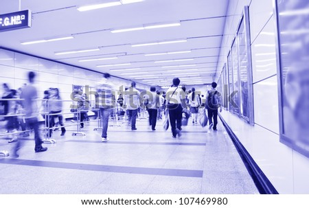 Passengers in the subway station in shanghai china.