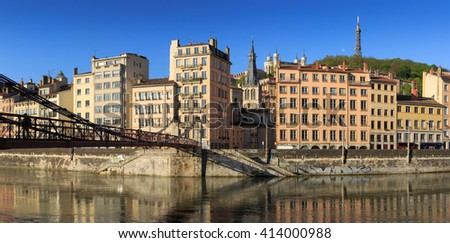 Passerelle Saint-Vincent over the Saone river and Vieux Lyon in Lyon city. - stock photo