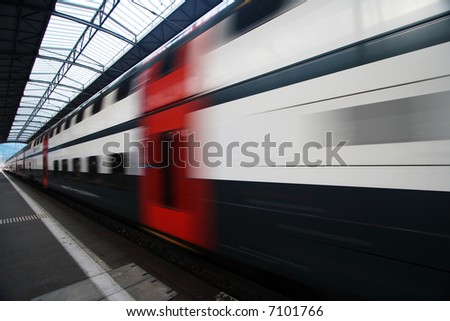 Passing Commuter Double Deck Train