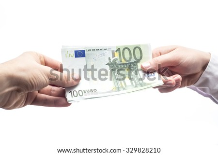 Passing 100 euro banknote from hand to hand isolated on white background - stock photo