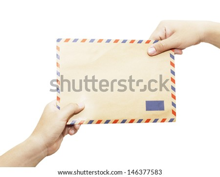 Passing mail, man's hand passes the envelope to another hand isolated on white background.