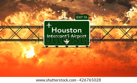 Passing under Houston USA Airport Highway Sign in a Beautiful Cloudy Sunset 3D Illustration - stock photo